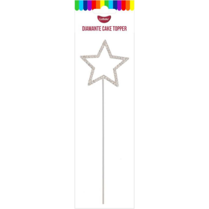 Silver 4.5cm Star Diamante Cake Topper