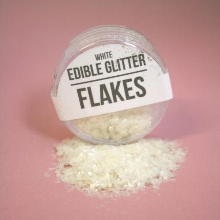 Edible Glitter Flakes Whi
