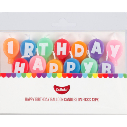 Happy Birthday Balloon Candles on Picks 13pk