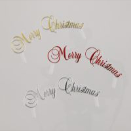 Red, Gold & Silver Swirly Merry Christmas Mottoes