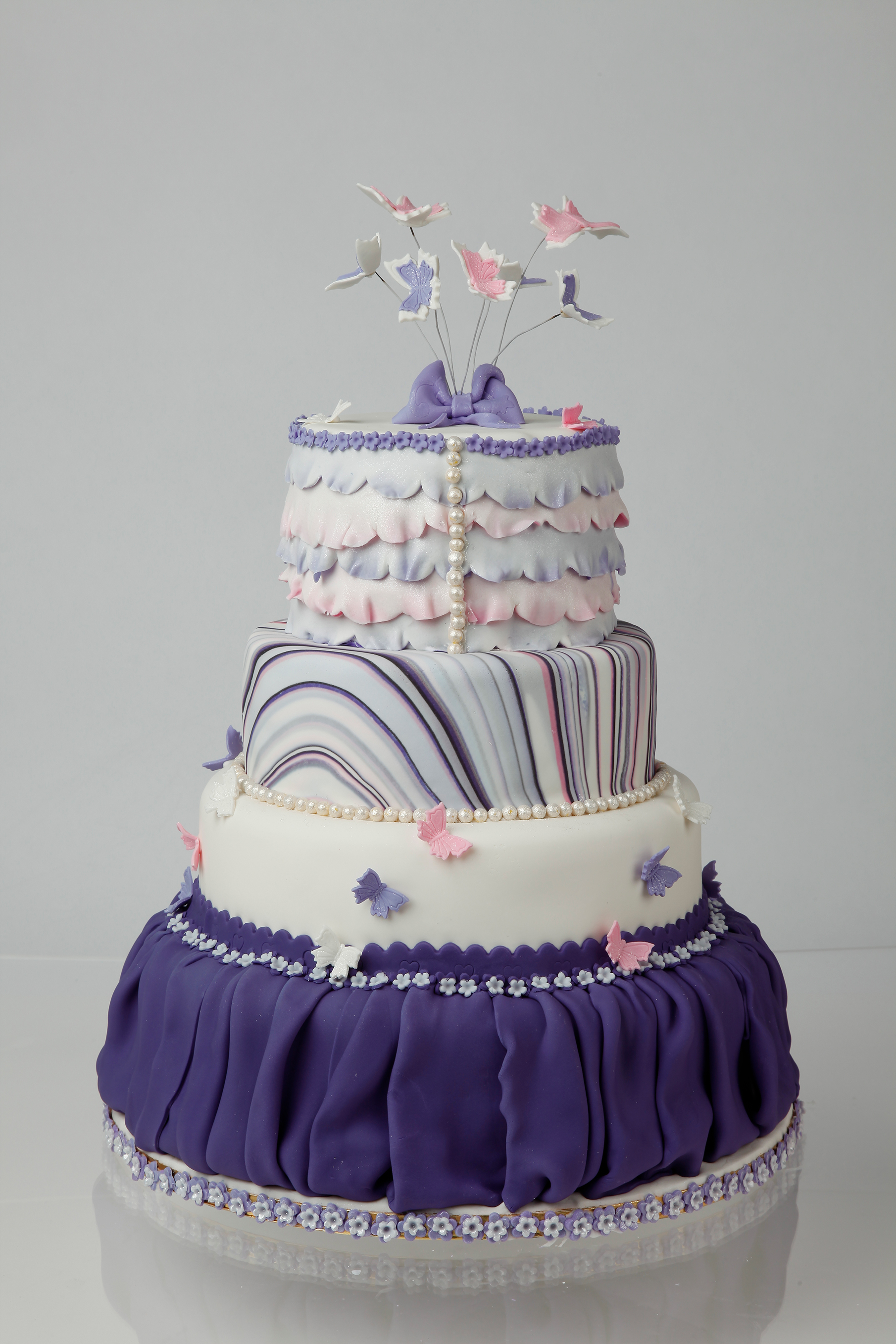 Tiered Fondant Marble Cake